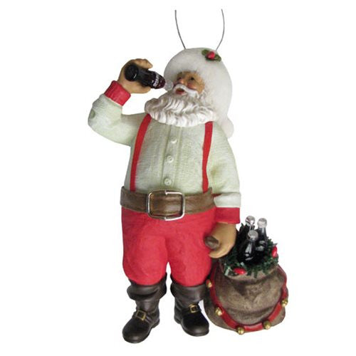Coca-Cola Santa Drinking Coke with Sack; Bottles: Kurt Adler Ornament - Baby Feathers Gift Shop