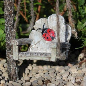 Ladybug Swing: Fairy Garden Miniature Accessories - Baby Feathers Gift Shop