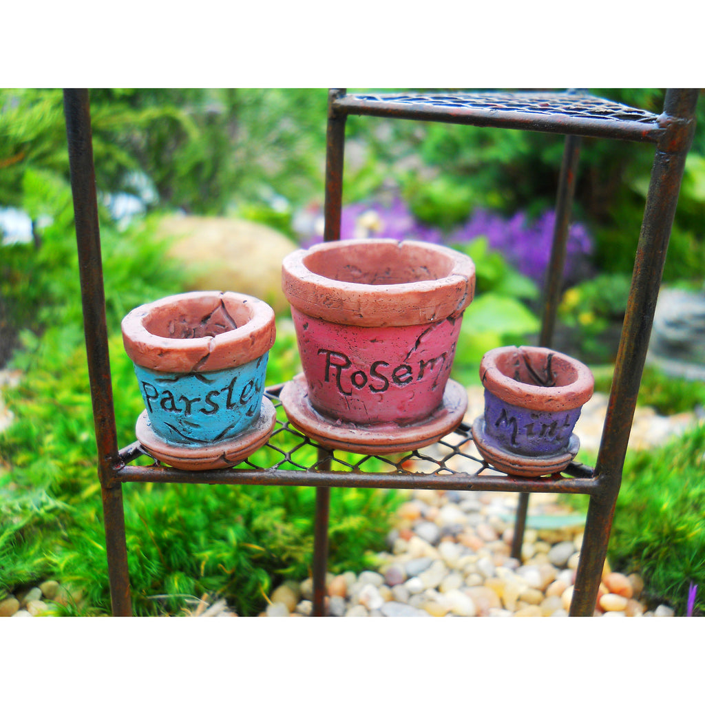 Herb Planter Pots set of 3 Fairy Garden Miniature Accessories - Baby Feathers Gift Shop