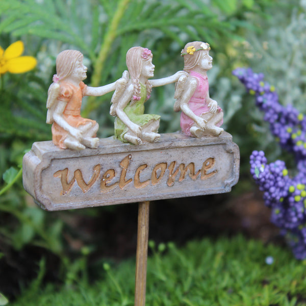 Welcome Mini Fairy Trio Sign: Fairy Garden Landscaping - Baby Feathers Gift Shop