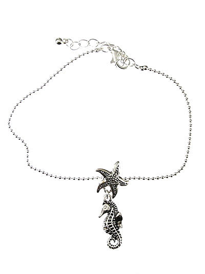 Sea Horse & Star Fish Anklet Bracelet - Baby Feathers
