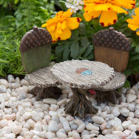 Acorn Bistro 3-piece set: Miniature Fairy Garden Furniture - Baby Feathers Gift Shop