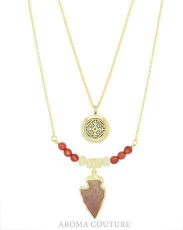 Baltic Amber & Quartz Arrowhead Diffuser Necklace: Aroma Couture - Baby Feathers Gift Shop