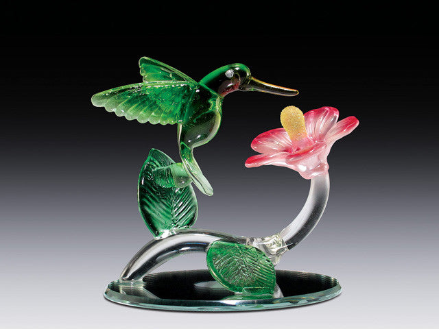 Hummingbird with morning glory on mirror base - Baby Feathers Gift Shop