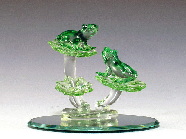 Two frogs on oval mirror base - Baby Feathers