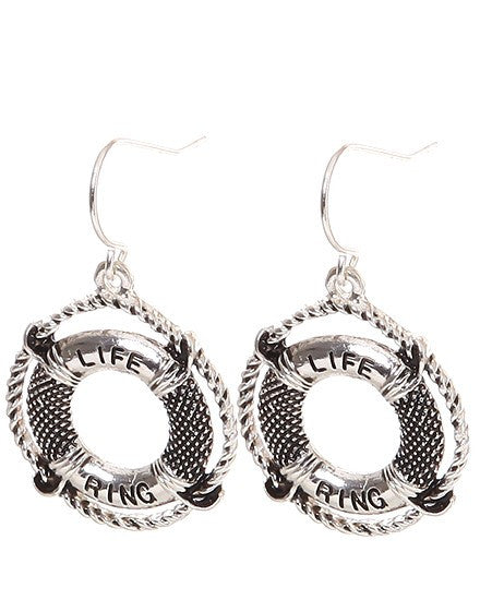 Life Saver Ring Earrings - Baby Feathers
