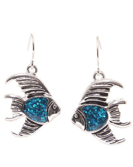 Angel Fish Glitter Accent Earrings - Baby Feathers Gift Shop