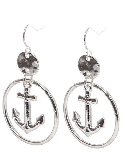 Sea Life Silver Tone Hammer Ring Earrings - Baby Feathers Gift Shop