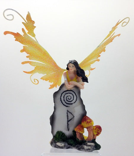 Fairy with Mythic Standing Stone Yellow Legends of Avalon Figurine - Baby Feathers Gift Shop