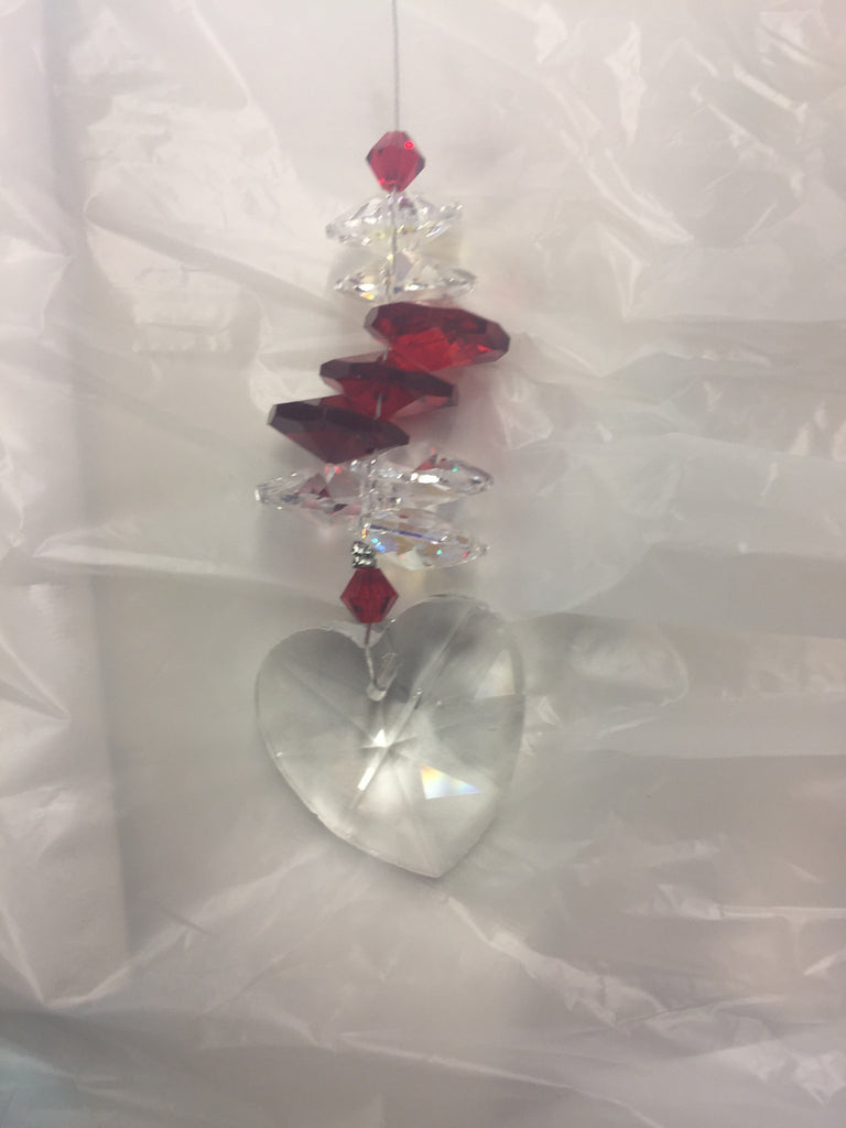 Crystal Heart with Red Crystal Octagon & Bead Cluster Suncatcher - Baby Feathers Gift Shop