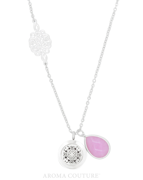 Isabella Purple Jade Diffuser Necklace: Aroma Couture - Baby Feathers Gift Shop