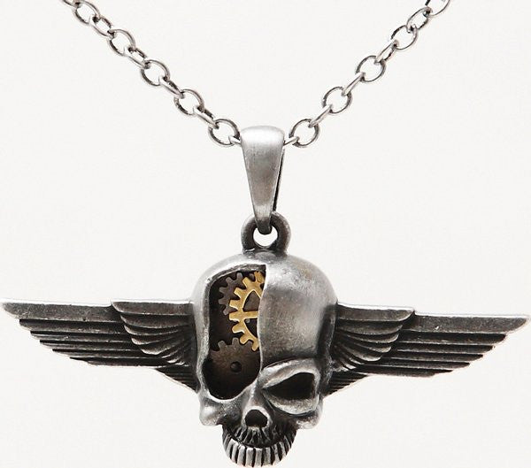 Steampunk Cyborg Skull Wings Necklace - Baby Feathers Gift Shop
