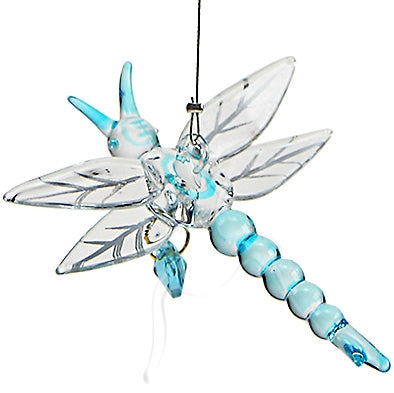 Dragonfly Handcrafted glass with Crystal Blue Heart: Dragonfly Ornament - Baby Feathers Gift Shop