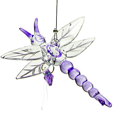 Dragonfly with Crystal Purple Heart: Dragonfly Ornament - Baby Feathers Gift Shop