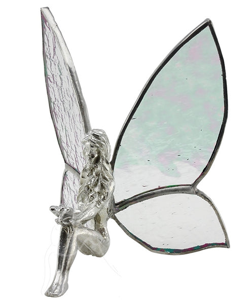 Handcrafted Sitting Solid Australia Pewter Fairy with Stained Glass Wings
