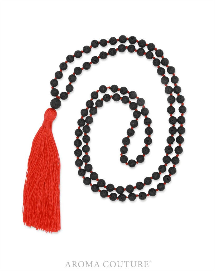 Mala Red Diffuser Necklace: Aroma Couture Jewelry - Baby Feathers Gift Shop