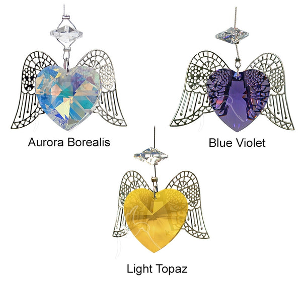 Angel Heart Suncatcher Crystal Heart with Angel Wings - Baby Feathers Gift Shop