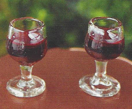 Red Wine Glasses Fairy Garden Food Miniature - Baby Feathers Gift Shop