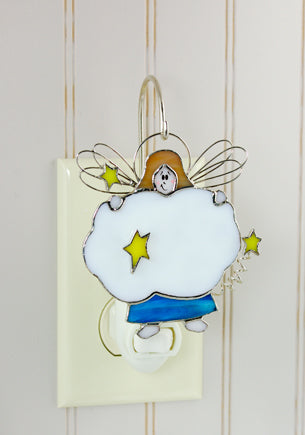 Angel Stained Glass Switchables Nightlight Cover Ornament Suncatcher - Baby Feathers Gift Shop