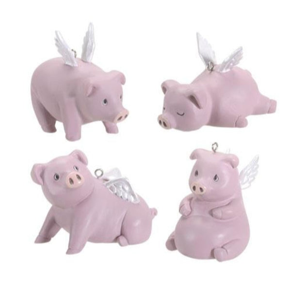 Pablo Flying Pigs Set of 4 Hanging Ornaments Holiday Decoration Ebros Gift Set