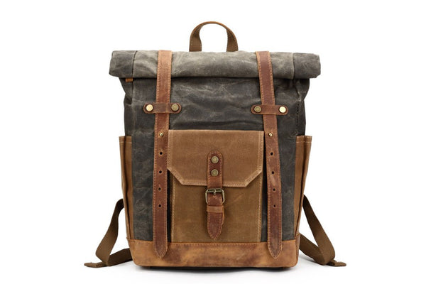 hughes and Hawk waxed canvas and leather back pack