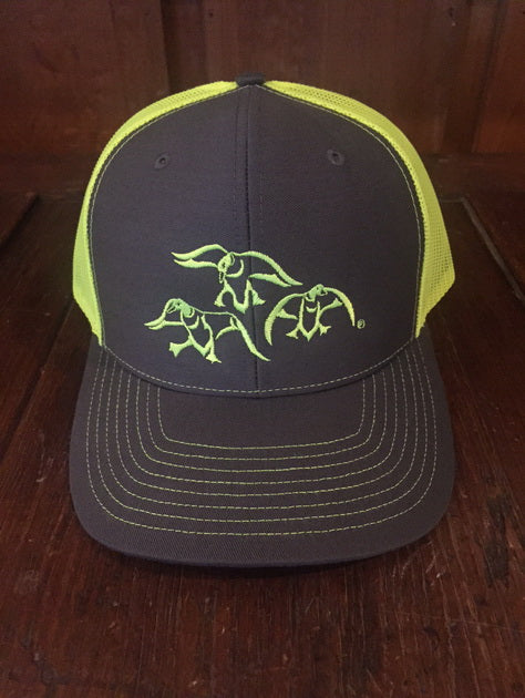 hat with just our ducks charcoal neon yellow cupped and committed