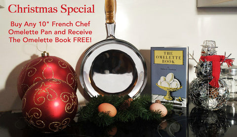 "Christmas Special 10"" High Polish French Chef Omelette Pan & FREE: The Omelette Book"