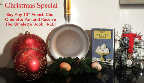 "Christmas Special 10"" Natural French Chef Omelette Pan & FREE: The Omelette Book"