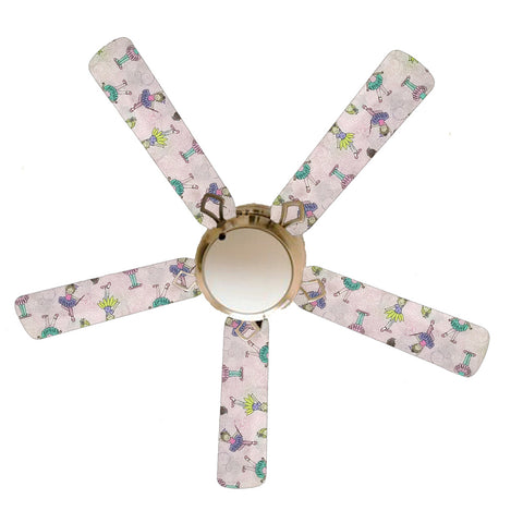 "Ballerina Baby Little Girl 52"" Ceiling Fan with Lamp"
