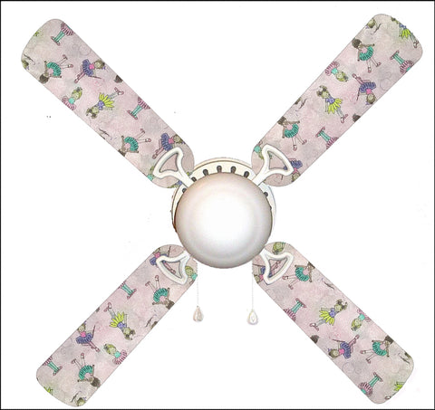 "Ballerina Baby Little Girl 42"" Ceiling Fan and Lamp"