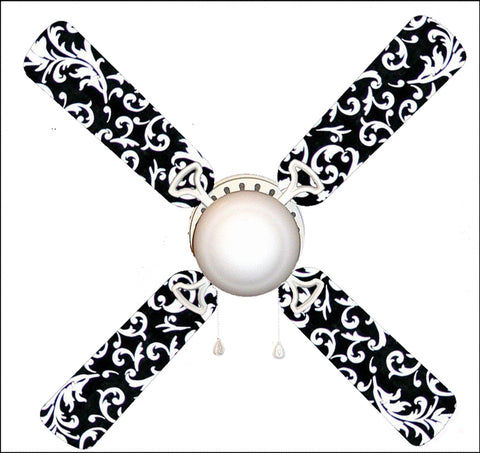 "Black and White Damask 42"" Ceiling Fan and Lamp"