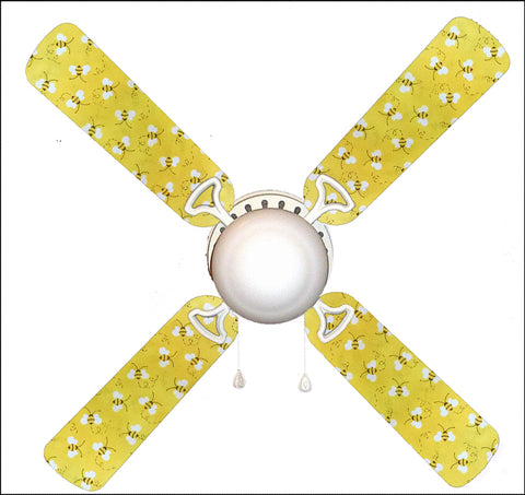 "Sweet Yellow Bumble Bees 42"" Ceiling Fan and Lamp"