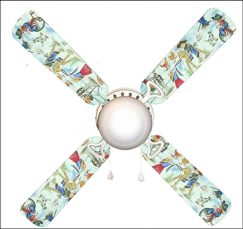 "Rodeo Kids Cowgirl 42"" Ceiling Fan and Lamp"