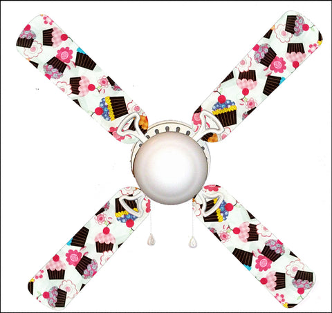 "Girly Cupcakes on White 42"" Ceiling Fan and Lamp"