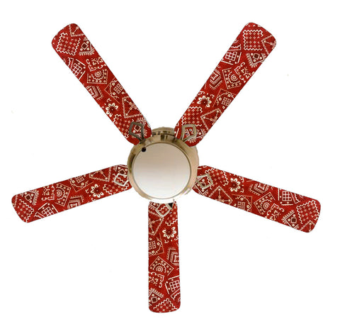 "Red Bandana 52"" Ceiling Fan and Lamp"
