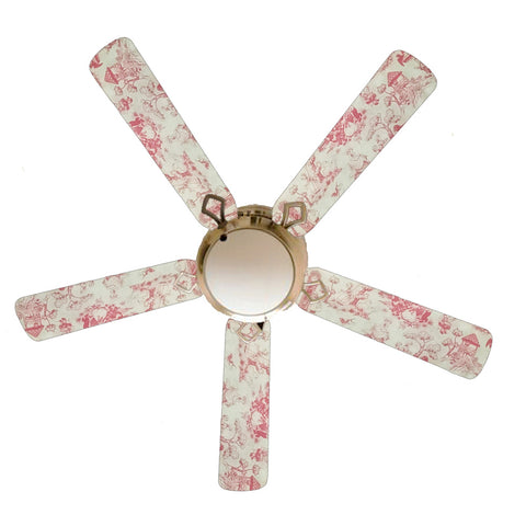 "Pink Toile Nursery Girls 52"" Ceiling Fan with Lamp"