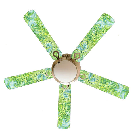 "Seaside Green and Blue Paisley 52"" Ceiling Fan with Lamp"