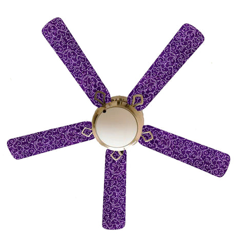 "Purple Passion White Swirls 52"" Ceiling Fan with Lamp"