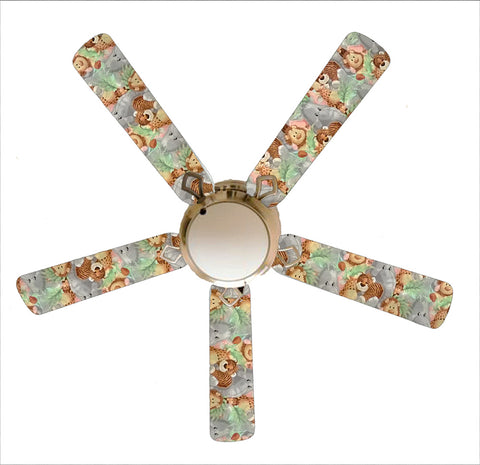 "Jungle Babies Baby Nursery 52"" Ceiling Fan and Lamp"