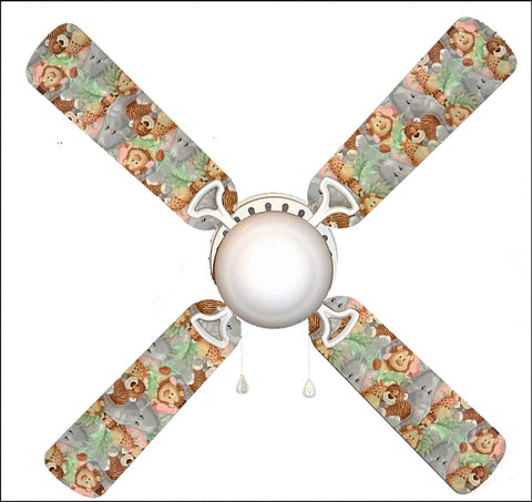 "Jungle Babies Baby Nursery 42"" Ceiling Fan and Lamp"
