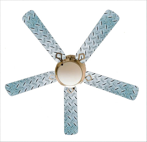 "Diamond Plate Garage Shop Den 52"" Ceiling Fan with Lamp"