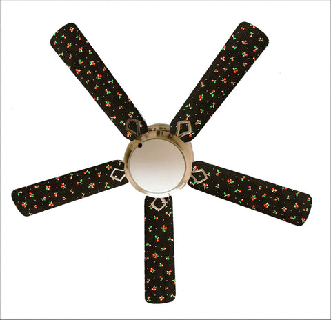 "Black/Red Cherry Cherries 52"" Ceiling Fan with Lamp"