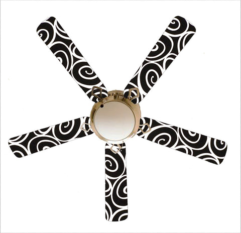 "Designer Black and White Swirls 52"" Ceiling Fan and Lamp"