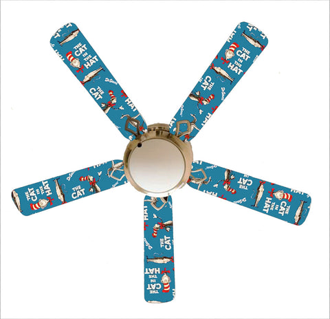 "Classic Blue Cat In The Hat 52"" Ceiling Fan and Lamp"