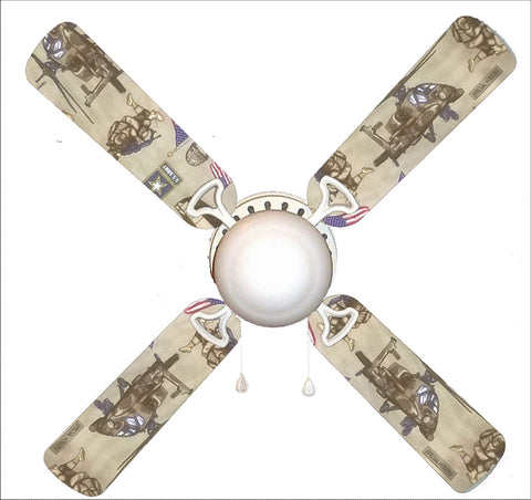 "Military U.S. Army 42"" Ceiling Fan and Lamp"