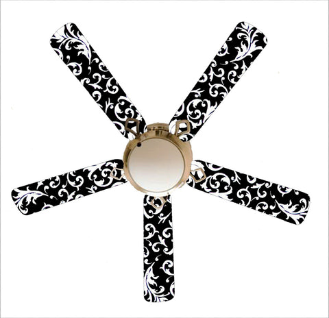 "Black and White Damask 52"" Ceiling Fan with Lamp"