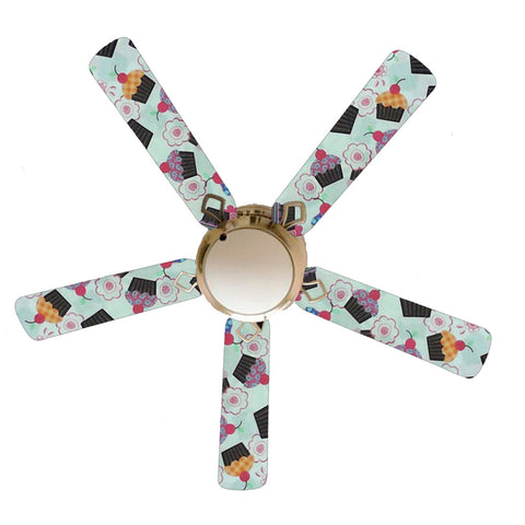 "Girly Cupcakes on White 52"" Ceiling Fan and Lamp"