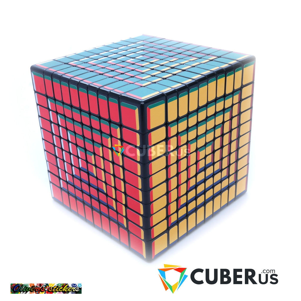 10x10x10 Super Pochmann Black Supercube Sticker Mod Puzzle