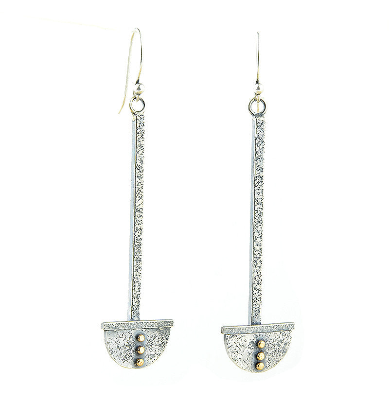 Silver and Gold Arc Drop Earrings