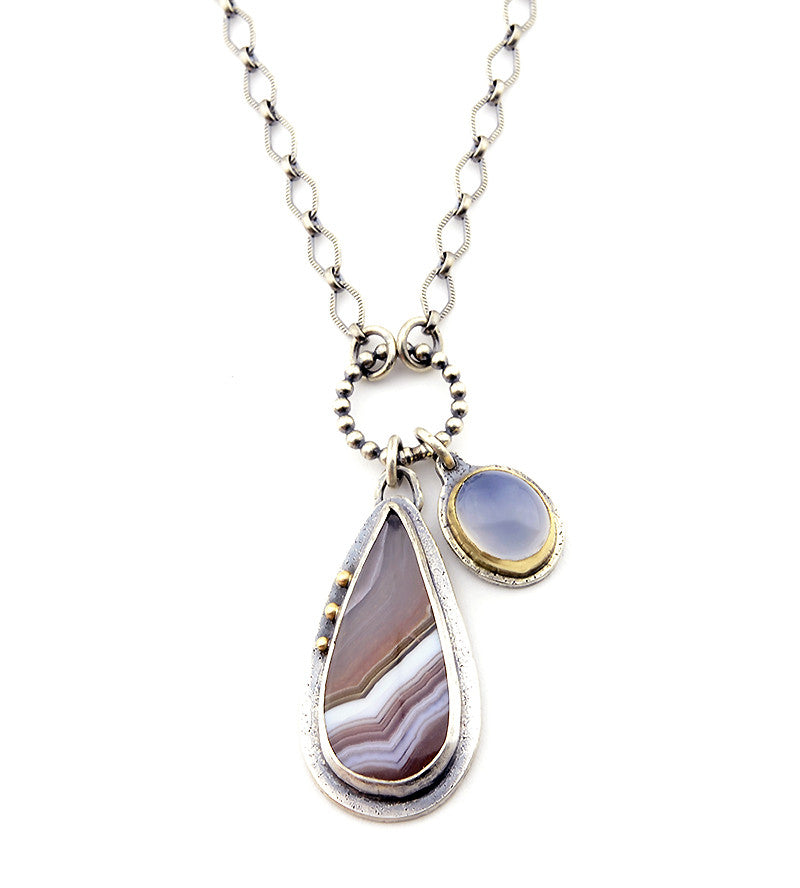 Agua Neuva & Holly Lavender Chalcedony Sterling and 14k Gold Necklace